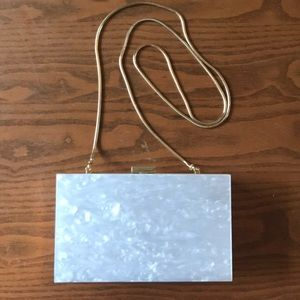 Handbags - Gold and Pearl Box Crossbody Chain Clutch LIKE NEW